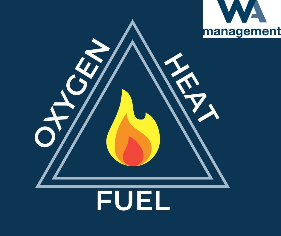 fire triangle - oxygen, heat fuel. Fire icon in the middle of the triangle