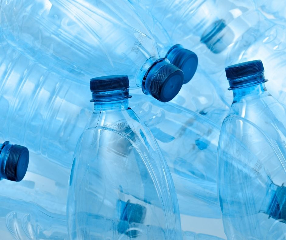 Close up of plastic clear bottles