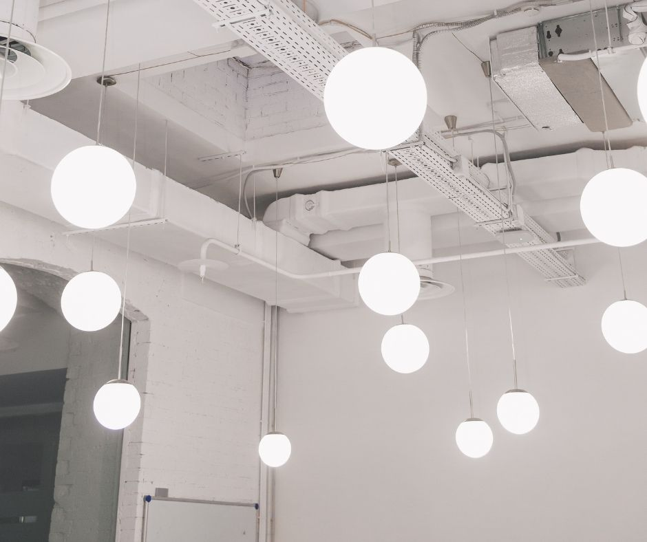 Round lights hanging from ceiling